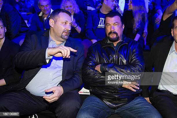 Actor Steven Seagal and Alexander Shumsky attend the MercedesBenz Fashion Week Russia S/S 2014 on October 28 2013 in Moscow Russia
