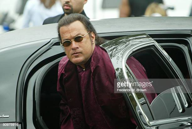 Actor Steven Seagal attends the funeral of recording artist Ray Charles at the First AME Church on June 18 2004 in Los Angeles California
