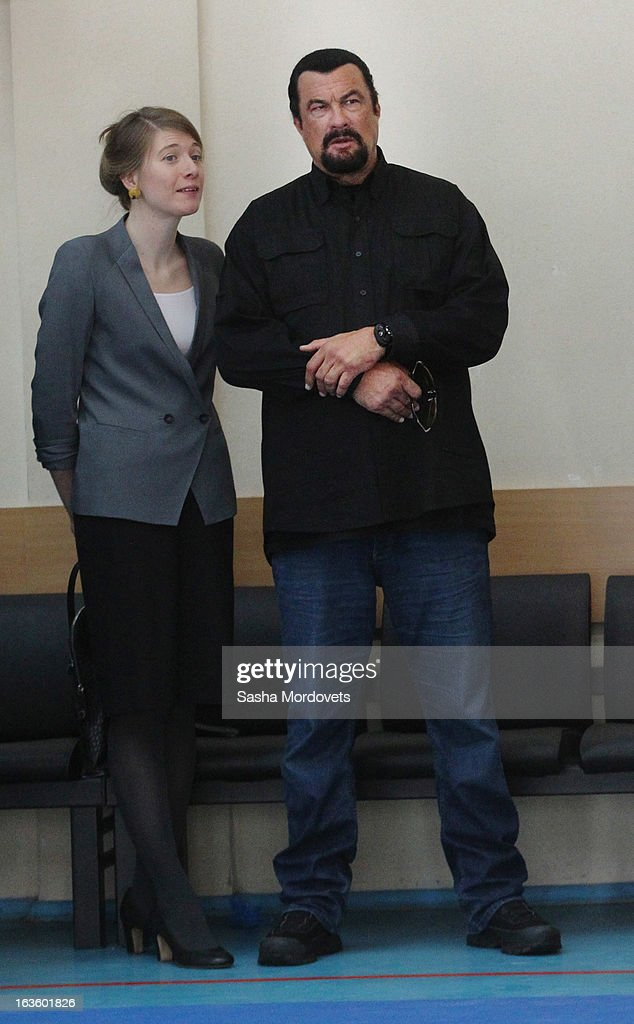 U.S. actor <a gi-track='captionPersonalityLinkClicked' href=/galleries/search?phrase=Steven+Seagal&family=editorial&specificpeople=220891 ng-click='$event.stopPropagation()'>Steven Seagal</a> is seen visiting Sambo-70, a Russian martial art and combat sport school, March 13, 2013 in Moscow, Russia.