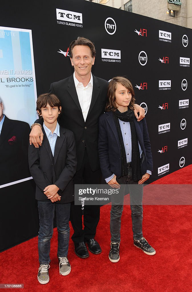 Actor Steven Weber (C) and sons Alfie Weber (L) and Jack Weber attend AFI's 41st Life Achievement Award Tribute to Mel Brooks at Dolby Theatre on June 6, 2013 in Hollywood, California.