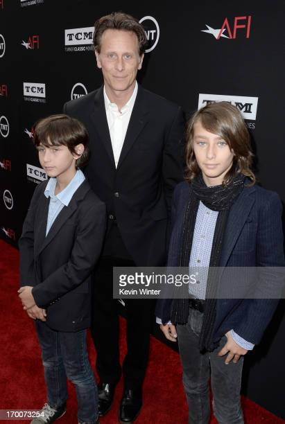 Actor Steven Weber with sons Alfie Weber and Jack Weber attend the 41st AFI Life Achievement Award Honoring Mel Brooks at Dolby Theatre on June 6...