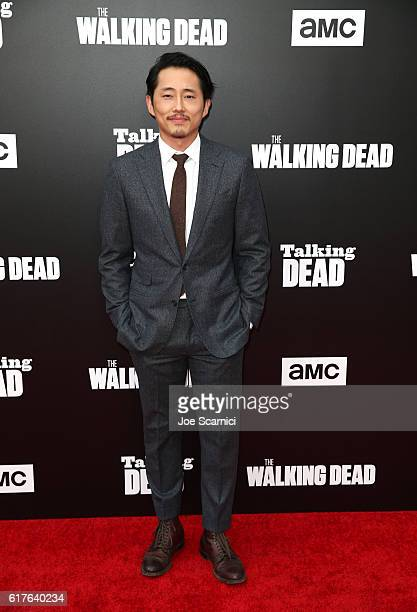 Actor Steven Yeun attends AMC presents 'Talking Dead Live' for the premiere of 'The Walking Dead' at Hollywood Forever on October 23 2016 in...