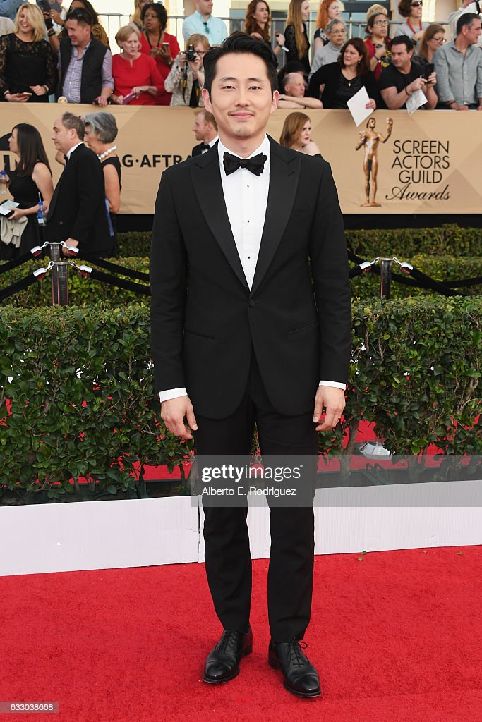 Actor Steven Yeun attends the 23rd Annual Screen Actors Guild Awards at The Shrine Expo Hall on January 29, 2017 in Los Angeles, California.