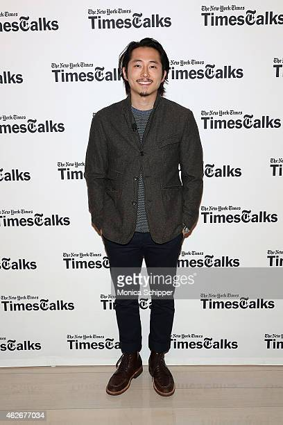 Actor Steven Yeun attends TimesTalks The Walking Dead at TheTimesCenter on February 2 2015 in New York City