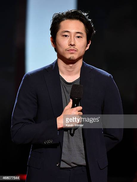 Actor Steven Yeun speaks onstage during the 2015 iHeartRadio Music Awards which broadcasted live on NBC from The Shrine Auditorium on March 29 2015...