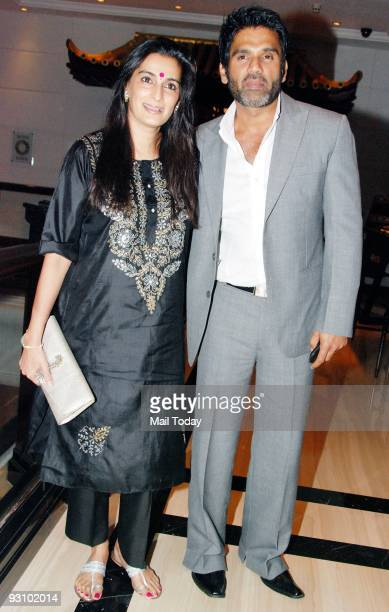 Actor Sunil Shetty with wife Mana at a wine tasting event in Mumbai on Saturday November 14 2009