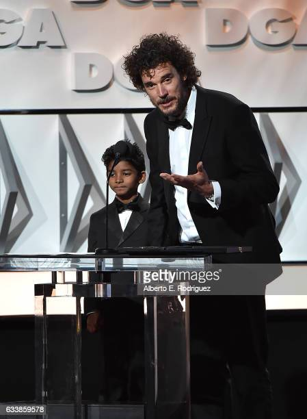"Actor Sunny Pawar and director Garth Davis accept the Feature Film Nomination Plaque for ""Lion"" onstage during the 69th Annual Directors Guild of..."