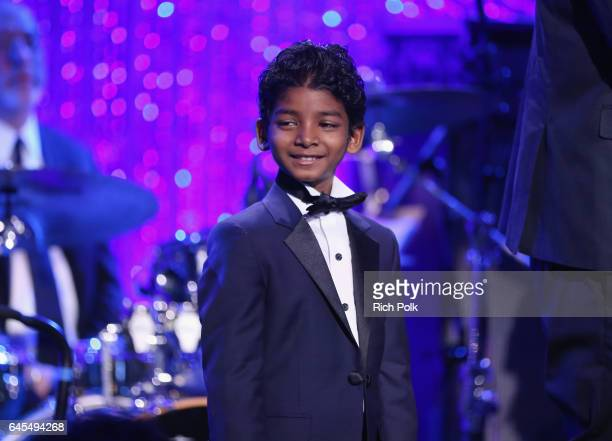 Actor Sunny Pawar onstage at The Weinstein Company's PreOscar Dinner in partnership with Bvlgari and Grey Goose at Montage Beverly Hills on February...
