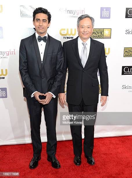 Actor Suraj Sharma and director Ang Lee attend the Critics' Choice Movie Awards 2013 with Skinnygirl Cocktails at Barkar Hangar on January 10 2013 in...