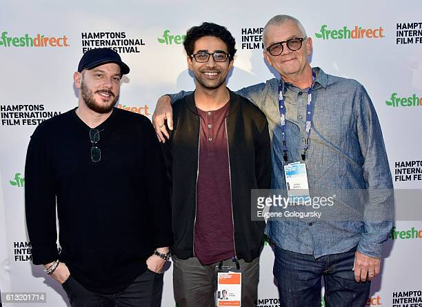 Actor Suraj Sharma filmaker Jordan Roberts and a guest attend the Burn Your Maps Screening during The Hamptons International Film Festival 2016 at UA...