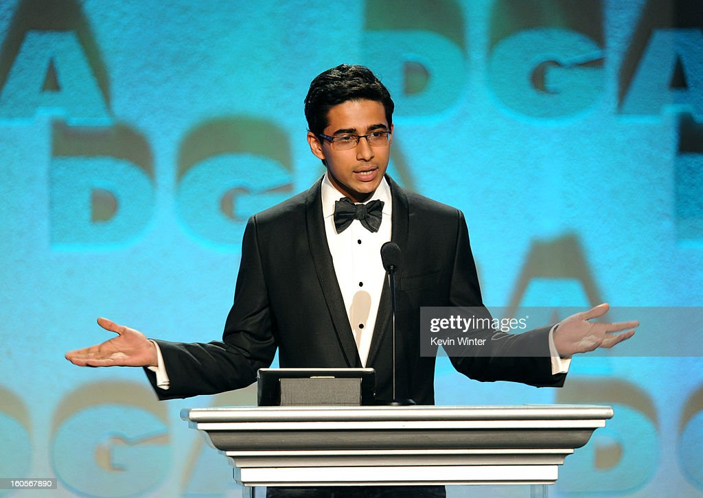 Actor <a gi-track='captionPersonalityLinkClicked' href=/galleries/search?phrase=Suraj+Sharma&family=editorial&specificpeople=9768453 ng-click='$event.stopPropagation()'>Suraj Sharma</a> speaks onstage during the 65th Annual Directors Guild Of America Awards at Ray Dolby Ballroom at Hollywood & Highland on February 2, 2013 in Los Angeles, California.