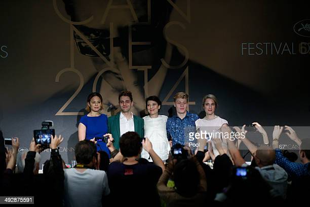 Actor Suzanne Clement Xavier Dolan Anne Dorval Olivier Pilon and Nancy Grant attend the 'Mommy' press conference at the 67th Annual Cannes Film...