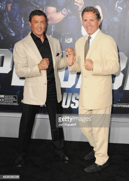 Actor Sylvester Stallone and brother actor Frank Stallone arrive at the Los Angeles Premiere 'The Expendables 3' at TCL Chinese Theatre on August 11...