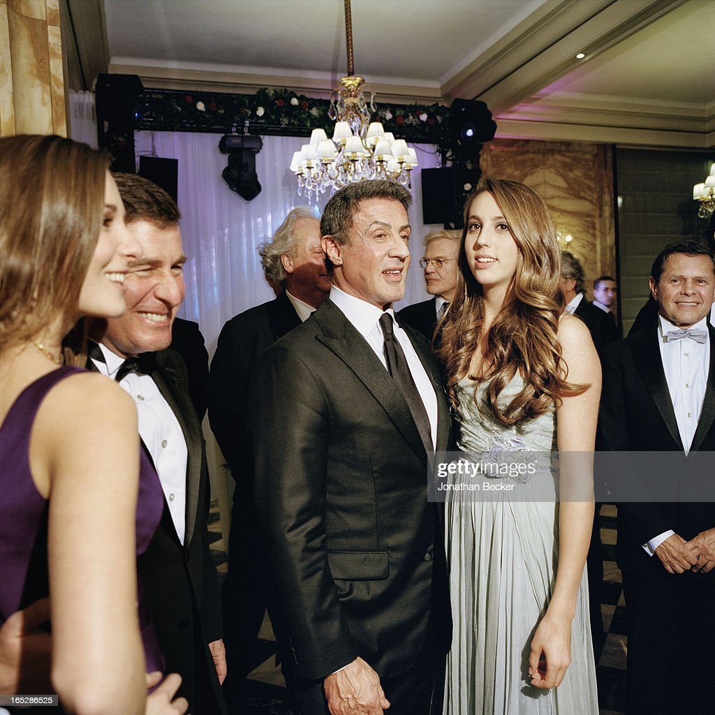 Actor <a gi-track='captionPersonalityLinkClicked' href=/galleries/search?phrase=Sylvester+Stallone&family=editorial&specificpeople=202604 ng-click='$event.stopPropagation()'>Sylvester Stallone</a> and daughter Sophia Rose Stallone are photographed at the Crillon Debutante Ball for Vanity Fair Magazine on November 22, 2012 in Paris, France. PUBLISHED
