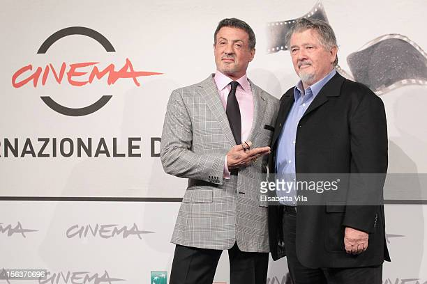 Actor Sylvester Stallone and director Walter Hill attend the 'Bullet To The Head' Photocall during the 7th Rome Film Festival at the Auditorium Parco...
