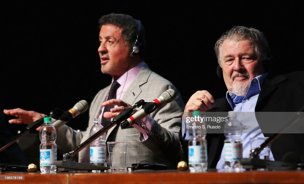 Actor Sylvester Stallone and director Walter Hill attend the 'Bullet To The Head' Press Conference during the 7th Rome Film Festival at the Auditorium Parco Della Musica on November 14, 2012 in Rome, Italy.