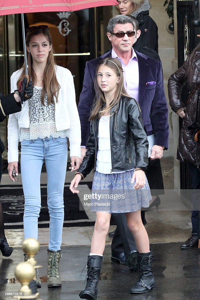 Actor Sylvester Stallone and his daughters Scarlet Rose and Sistine Rose are sighted leaving the 'Hotel de Crillon' on November 23, 2012 in Paris, France.