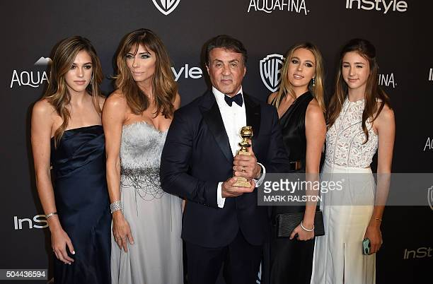 Actor Sylvester Stallone and his family attend the 2016 InStyle And Warner Bros 73rd Annual Golden Globes after party in Beverly Hills California on...