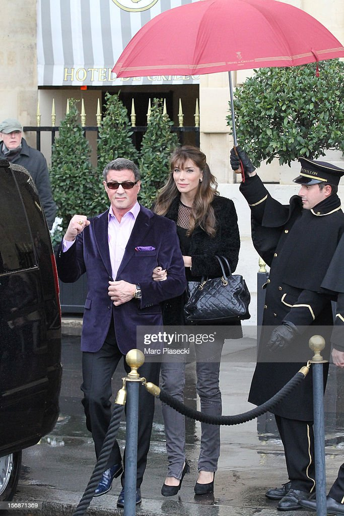 Actor <a gi-track='captionPersonalityLinkClicked' href=/galleries/search?phrase=Sylvester+Stallone&family=editorial&specificpeople=202604 ng-click='$event.stopPropagation()'>Sylvester Stallone</a> and his wife <a gi-track='captionPersonalityLinkClicked' href=/galleries/search?phrase=Jennifer+Flavin&family=editorial&specificpeople=206896 ng-click='$event.stopPropagation()'>Jennifer Flavin</a> are sighted leaving the 'Hotel de Crillon' on November 23, 2012 in Paris, France.