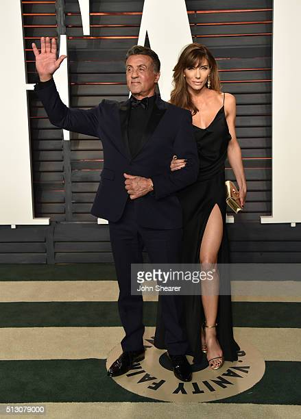 Actor Sylvester Stallone and Jennifer Flavin arrive at the 2016 Vanity Fair Oscar Party Hosted By Graydon Carter at Wallis Annenberg Center for the...