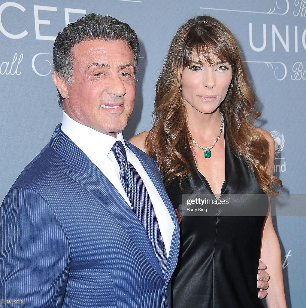 Actor <a gi-track='captionPersonalityLinkClicked' href=/galleries/search?phrase=Sylvester+Stallone&family=editorial&specificpeople=202604 ng-click='$event.stopPropagation()'>Sylvester Stallone</a> (L) and <a gi-track='captionPersonalityLinkClicked' href=/galleries/search?phrase=Jennifer+Flavin&family=editorial&specificpeople=206896 ng-click='$event.stopPropagation()'>Jennifer Flavin</a> attend the 2014 UNICEF Ball presented by Baccarat on January 14, 2014 at Regent Beverly Wilshire Hotel in Beverly Hills, California.