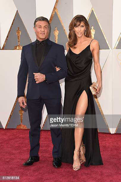 Actor Sylvester Stallone and Jennifer Flavin attends the 88th Annual Academy Awards at Hollywood Highland Center on February 28 2016 in Hollywood...