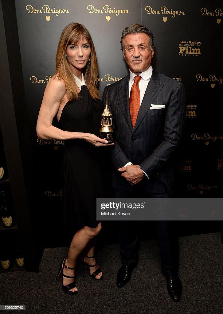 Actor Sylvester Stallone (R) and Jennifer Flavin visit the Dom Perignon Lounge at The Santa Barbara International Film Festival on February 9, 2016 in Santa Barbara, California.