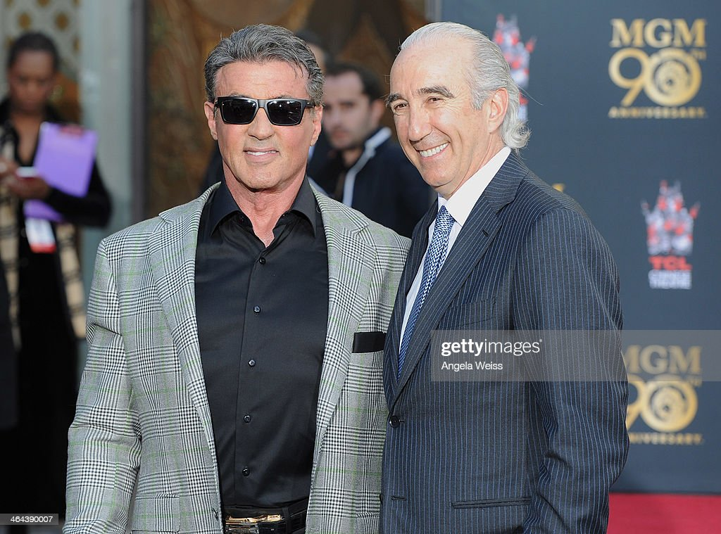 Actor <a gi-track='captionPersonalityLinkClicked' href=/galleries/search?phrase=Sylvester+Stallone&family=editorial&specificpeople=202604 ng-click='$event.stopPropagation()'>Sylvester Stallone</a> and MGM Chairman and CEO, <a gi-track='captionPersonalityLinkClicked' href=/galleries/search?phrase=Gary+Barber&family=editorial&specificpeople=683141 ng-click='$event.stopPropagation()'>Gary Barber</a> attend the Metro-Goldwyn-Mayer 90th Anniversary Celebration at TCL Chinese Theatre on January 22, 2014 in Hollywood, California.
