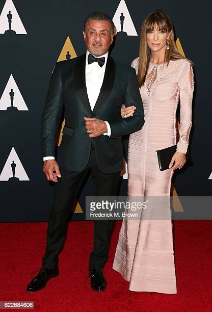 Actor Sylvester Stallone and model Jennifer Flavin attend the Academy of Motion Picture Arts and Sciences' 8th annual Governors Awards at The Ray...
