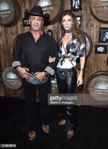 Actor Sylvester Stallone and moodel Jennifer Flavin arrive to the Casamigos Halloween Party at a private residence on October 28 2016 in Beverly...