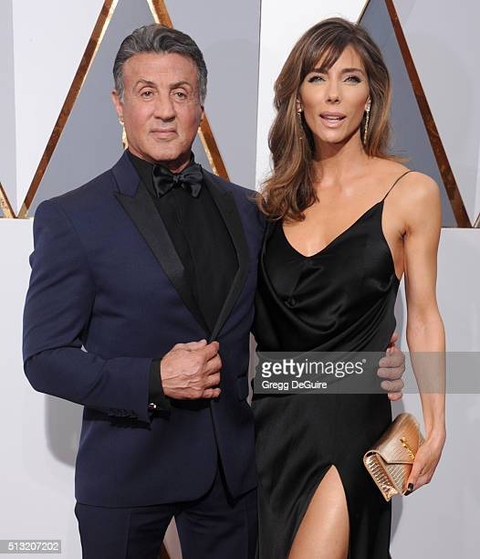 Actor Sylvester Stallone and wife Jennifer Flavin arrive at the 88th Annual Academy Awards at Hollywood Highland Center on February 28 2016 in...