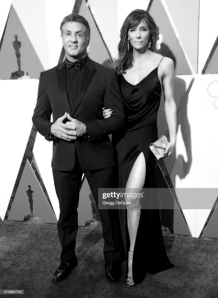 Actor Sylvester Stallone and wife Jennifer Flavin arrive at the 88th Annual Academy Awards at Hollywood & Highland Center on February 28, 2016 in Hollywood, California.