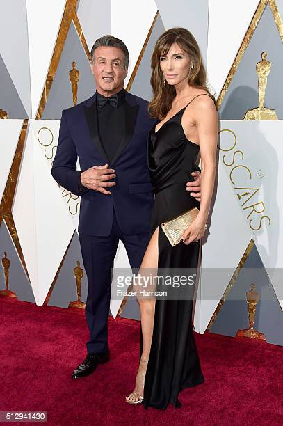 Actor Sylvester Stallone and wife Jennifer Flavin attend the 88th Annual Academy Awards at Hollywood Highland Center on February 28 2016 in Hollywood...
