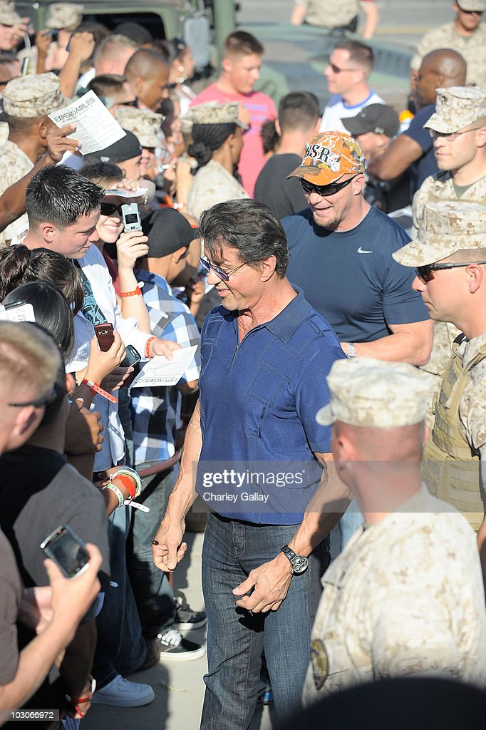 Actor <a gi-track='captionPersonalityLinkClicked' href=/galleries/search?phrase=Sylvester+Stallone&family=editorial&specificpeople=202604 ng-click='$event.stopPropagation()'>Sylvester Stallone</a> arrives at a special screening of Lionsgate's 'The Expendables' at Camp Pendleton on July 23, 2010 in Oceanside, California.