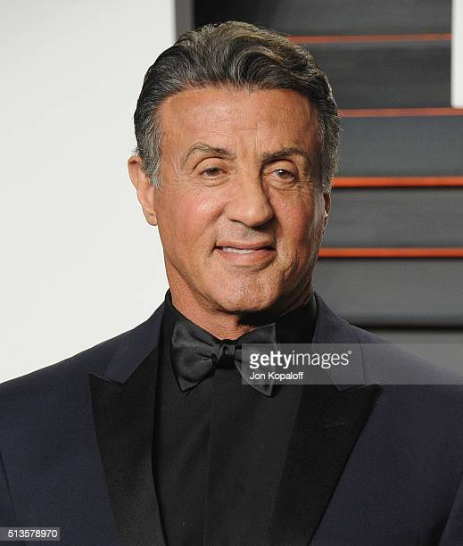 Actor Sylvester Stallone arrives at the 2016 Vanity Fair Oscar Party Hosted By Graydon Carter at Wallis Annenberg Center for the Performing Arts on...