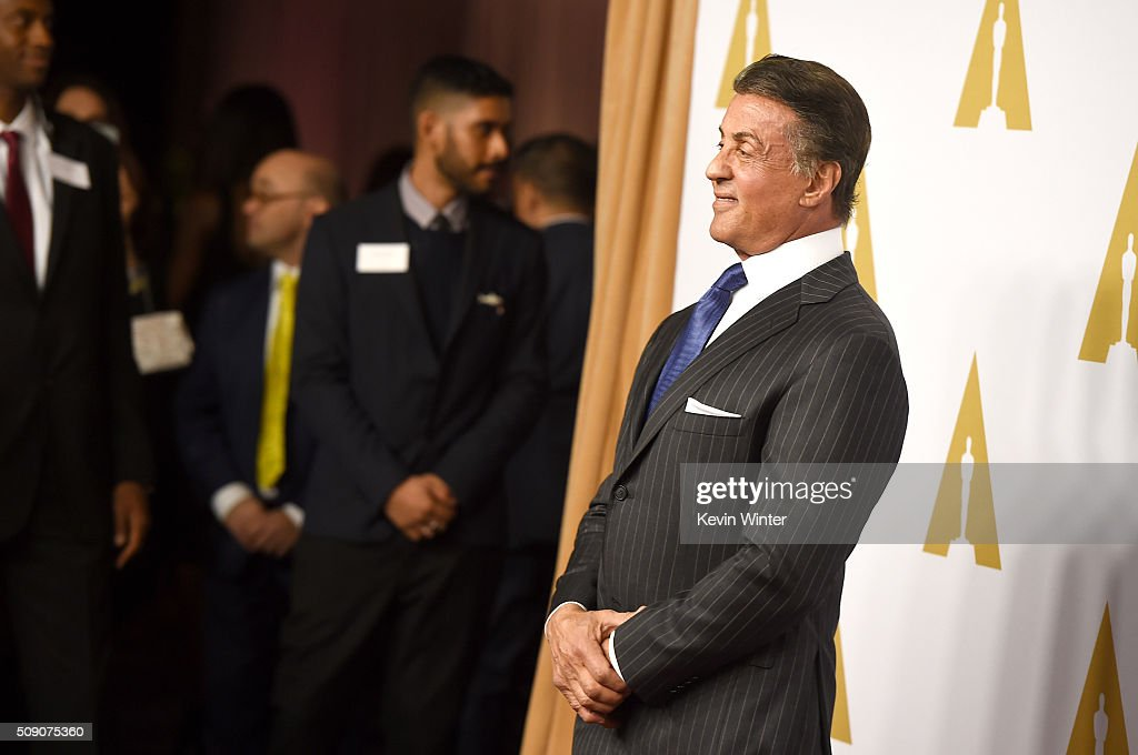 Actor <a gi-track='captionPersonalityLinkClicked' href=/galleries/search?phrase=Sylvester+Stallone&family=editorial&specificpeople=202604 ng-click='$event.stopPropagation()'>Sylvester Stallone</a> attends the 88th Annual Academy Awards nominee luncheon on February 8, 2016 in Beverly Hills, California.