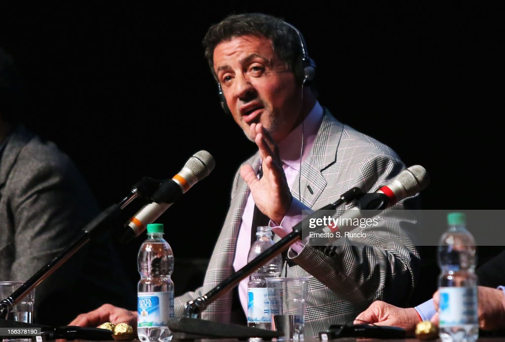 Actor <a gi-track='captionPersonalityLinkClicked' href=/galleries/search?phrase=Sylvester+Stallone&family=editorial&specificpeople=202604 ng-click='$event.stopPropagation()'>Sylvester Stallone</a> attends the 'Bullet To The Head' Press Conference during the 7th Rome Film Festival at the Auditorium Parco Della Musica on November 14, 2012 in Rome, Italy.
