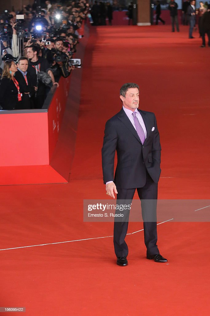 Actor <a gi-track='captionPersonalityLinkClicked' href=/galleries/search?phrase=Sylvester+Stallone&family=editorial&specificpeople=202604 ng-click='$event.stopPropagation()'>Sylvester Stallone</a> attends the 'Bullets To The Head' Premiere during the 7th Rome Film Festival at the Auditorium Parco Della Musica on November 14, 2012 in Rome, Italy.
