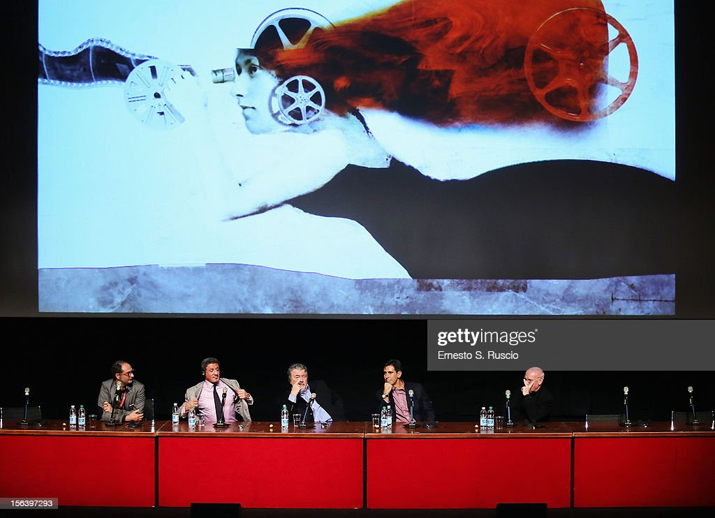 Actor Sylvester Stallone, director Walter Hill and author Alessandro Camon attend the 'Bullet To The Head' Press Conference during the 7th Rome Film Festival at the Auditorium Parco Della Musica on November 14, 2012 in Rome, Italy.