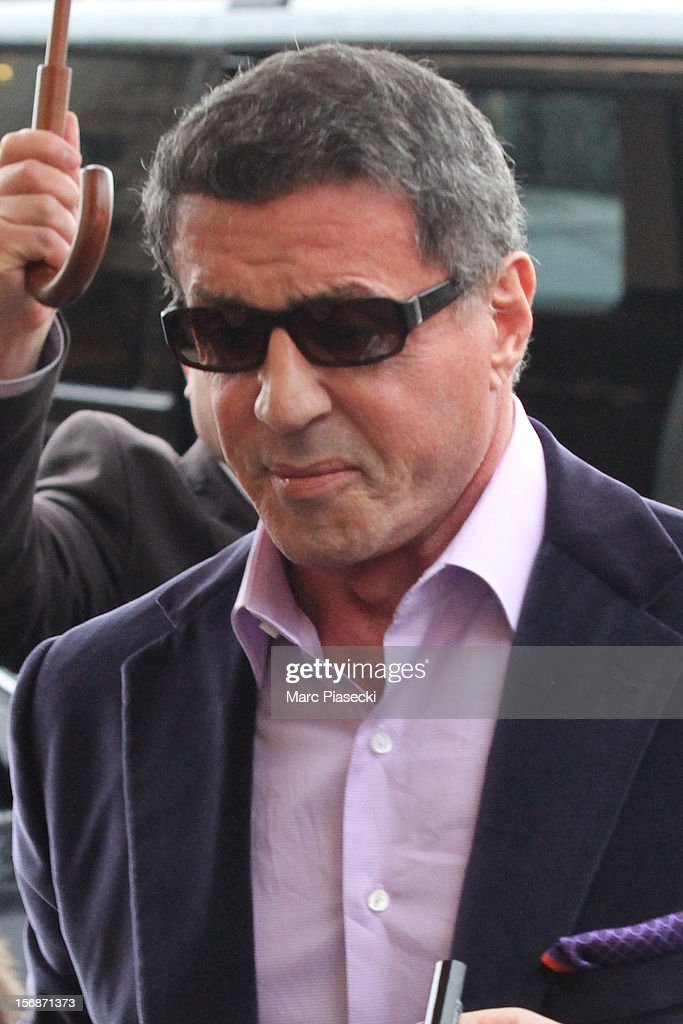 Actor <a gi-track='captionPersonalityLinkClicked' href=/galleries/search?phrase=Sylvester+Stallone&family=editorial&specificpeople=202604 ng-click='$event.stopPropagation()'>Sylvester Stallone</a> is sighted arriving at the 'Hotel de Crillon' on November 23, 2012 in Paris, France.