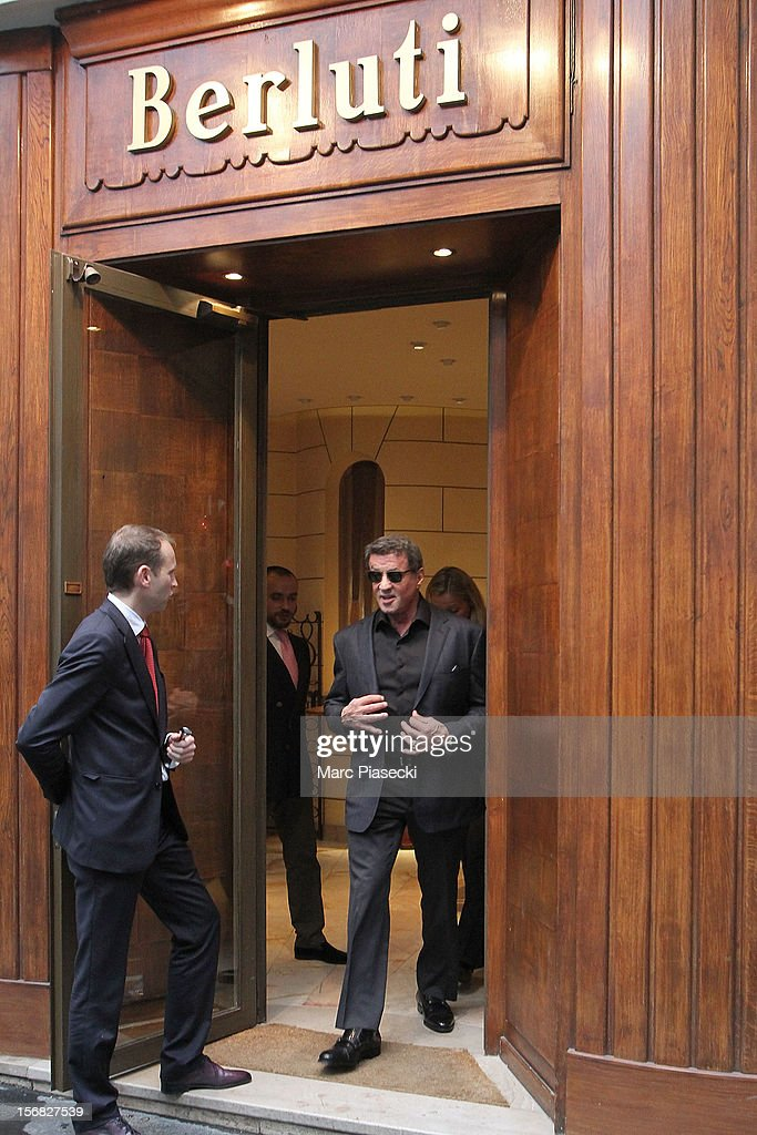 Actor <a gi-track='captionPersonalityLinkClicked' href=/galleries/search?phrase=Sylvester+Stallone&family=editorial&specificpeople=202604 ng-click='$event.stopPropagation()'>Sylvester Stallone</a> Is sighted leaving the 'Berluti' store on November 22, 2012 in Paris, France.