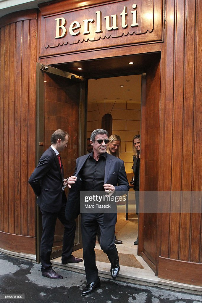 Actor <a gi-track='captionPersonalityLinkClicked' href=/galleries/search?phrase=Sylvester+Stallone&family=editorial&specificpeople=202604 ng-click='$event.stopPropagation()'>Sylvester Stallone</a> Is sighted leaving the 'Berlutti' store on November 22, 2012 in Paris, France.
