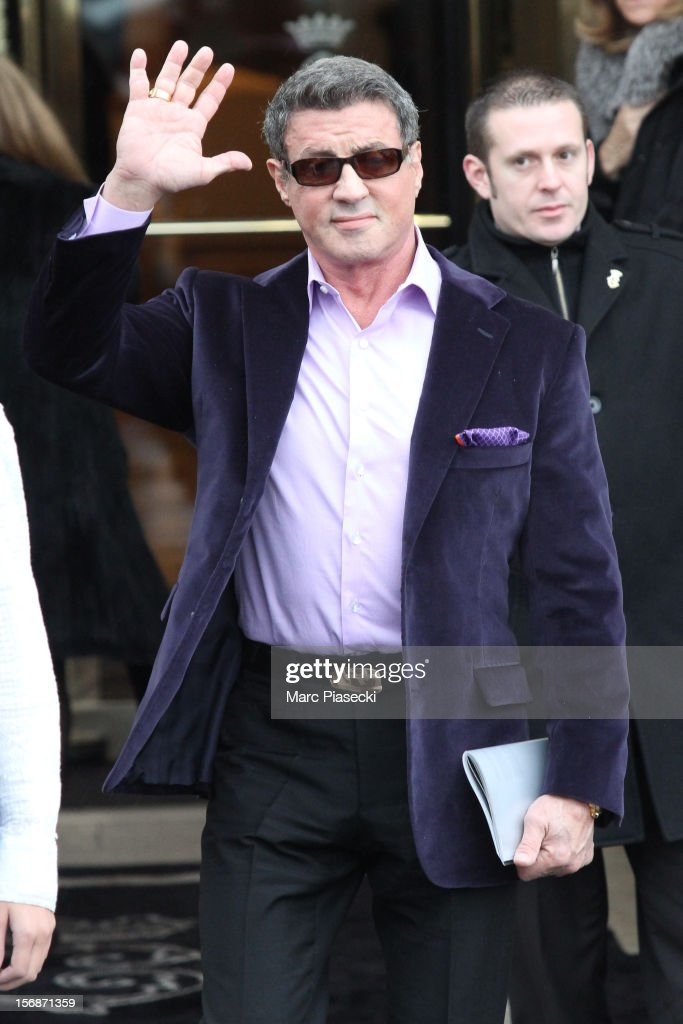 Actor <a gi-track='captionPersonalityLinkClicked' href=/galleries/search?phrase=Sylvester+Stallone&family=editorial&specificpeople=202604 ng-click='$event.stopPropagation()'>Sylvester Stallone</a> is sighted leaving the 'Hotel de Crillon' on November 23, 2012 in Paris, France.