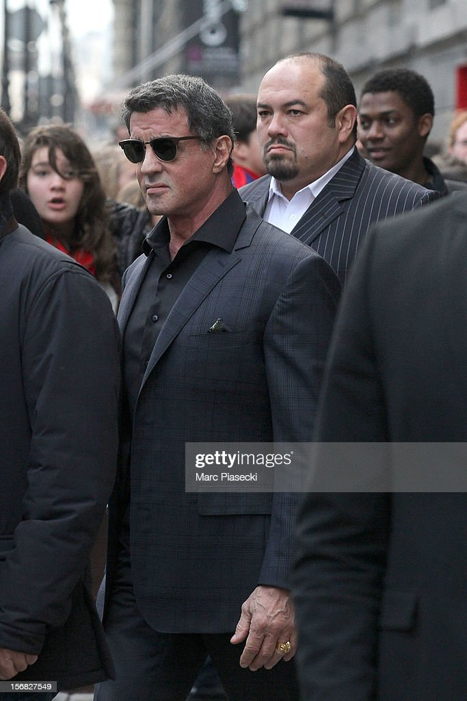 Actor Sylvester Stallone is sighted leaving the 'Musee des Arts decoratifs' on November 22, 2012 in Paris, France.