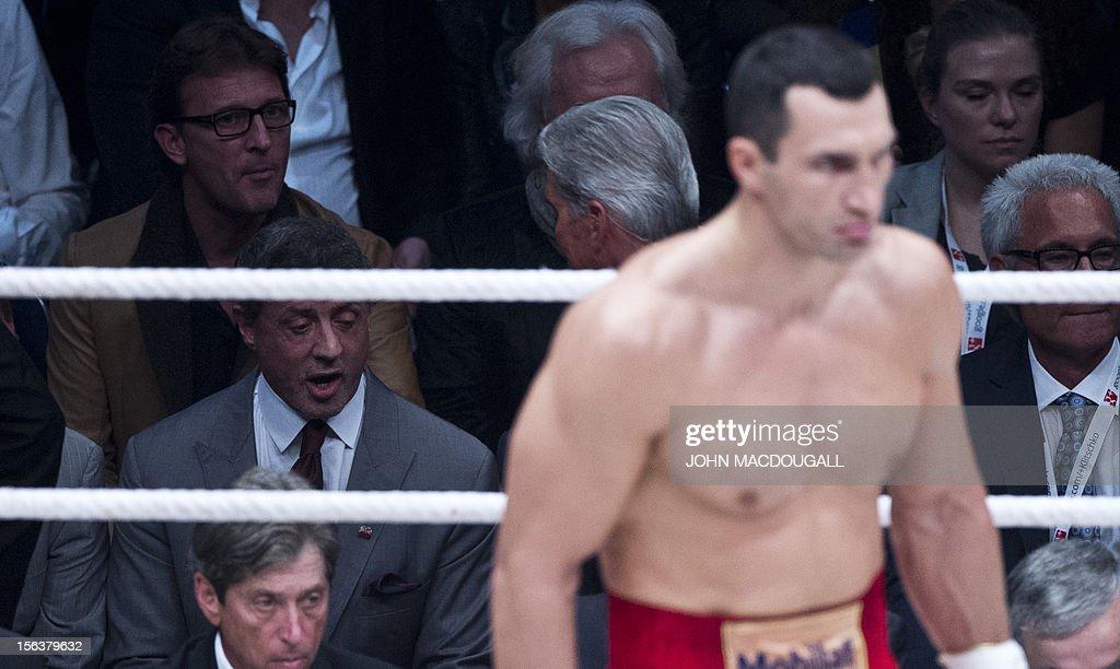 US actor Sylvester Stallone looks on as Ukrainian heavyweight boxing world champion Wladimir Klitschko takes on Polish challenger Mariusz Wach at the...
