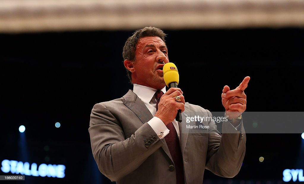 Actor Sylvester Stallone looks on before the WBA IBF WBO and IBOheavy weight title fight between Wladimir Klitschko of Ukraine and Mariusz Wach of...