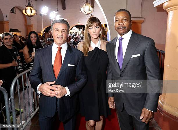 Actor Sylvester Stallone Model Jennifer Flavin and Actor Carl Weathers attend the Montecito Award at the Arlington Theater at the 31st Santa Barbara...