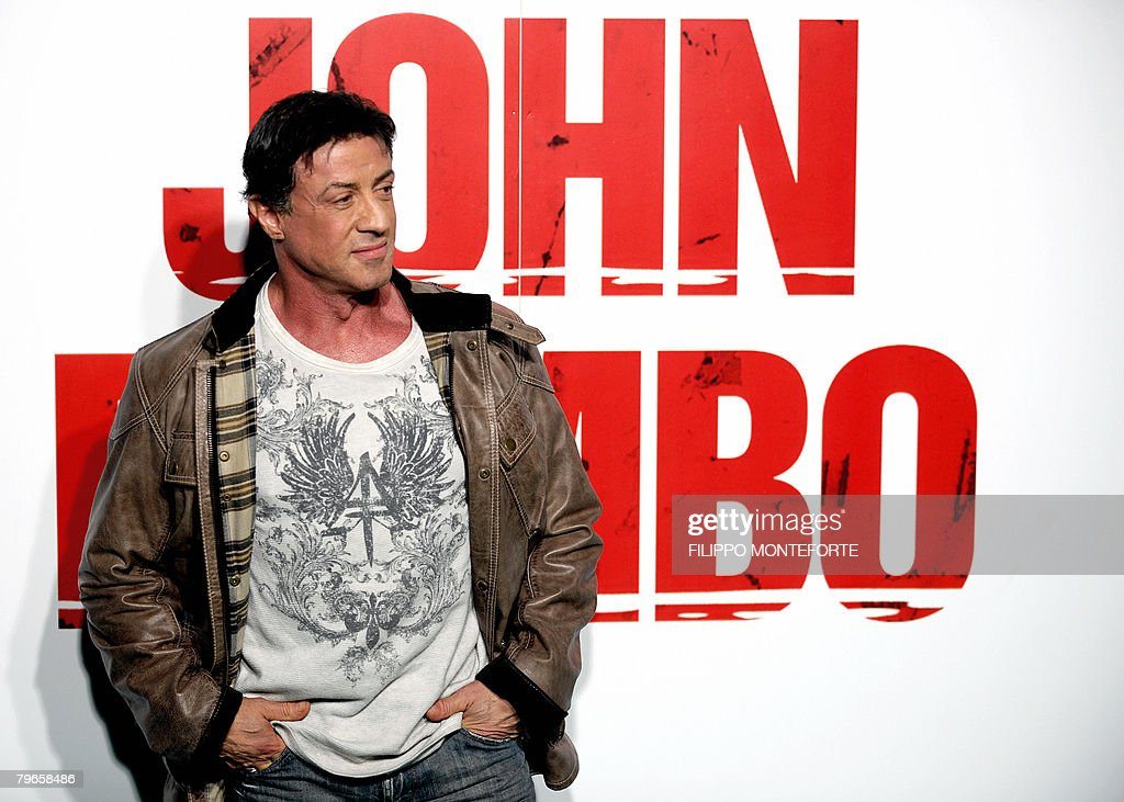 US actor Sylvester Stallone poses as he : News Photo