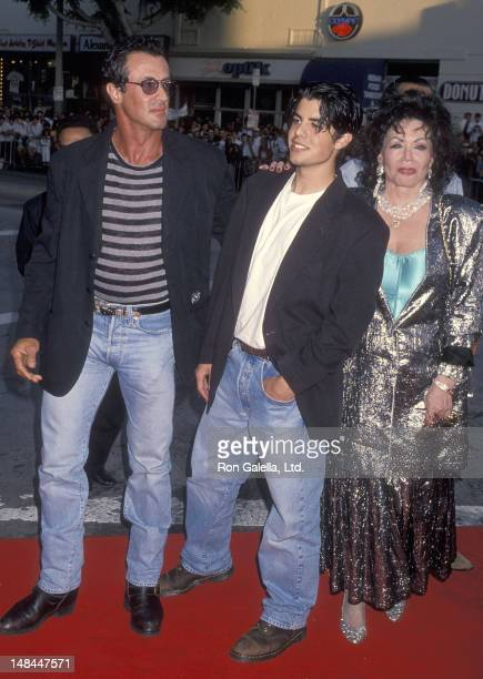 Actor Sylvester Stallone son Sage Stallone and mother Jackie Stallone attend the 'True Lies' Westwood Premiere on July 12 1994 at the Mann Village...