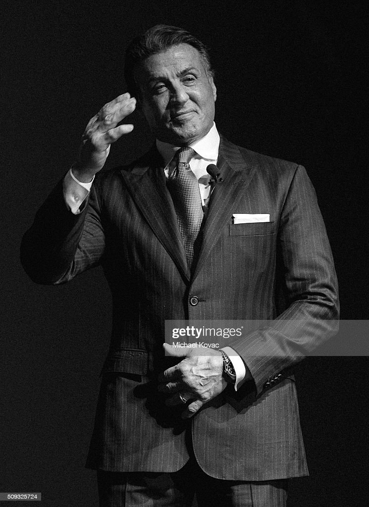 Actor <a gi-track='captionPersonalityLinkClicked' href=/galleries/search?phrase=Sylvester+Stallone&family=editorial&specificpeople=202604 ng-click='$event.stopPropagation()'>Sylvester Stallone</a> visits the Dom Perignon Lounge at The Santa Barbara International Film Festival on February 9, 2016 in Santa Barbara, California.
